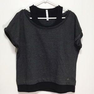 Fabletics Black and Gray Short Sleeve Sweatshirt